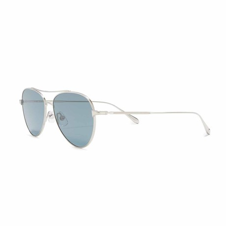 Culver Aviator Sunglasses // Silver + Blue