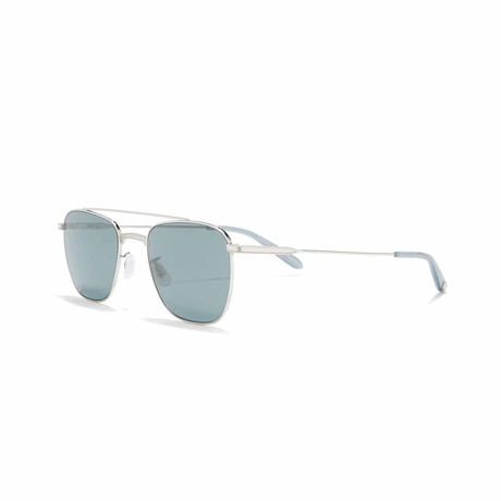 Riveria Aviator Sunglasses // Silver + Blue