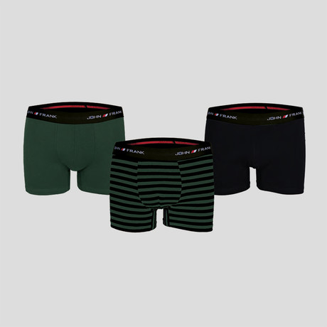 Campus Boxer // Black + Green // Set of 3 (S)