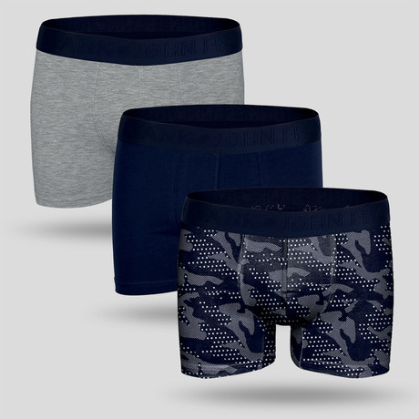 Campus Boxer // Blue + Gray // Set of 3 (XS)