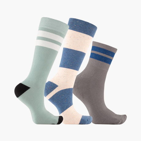 Jouer Ligne Bloc Crew + Ankle Socks // 3 pack