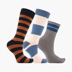 Jouer Bloc Bande Crew + Ankle Socks // 3 pack
