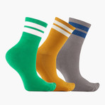 Retro Jouer Trio Ribbed Ankle Socks // 3 pack