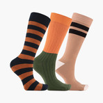 Fendu Band Crew Socks // 3 pack