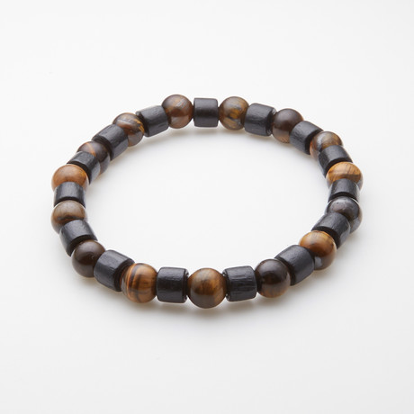 Jean Claude Jewelry // Spirit and Energy Adjustable Bracelet // Tiger's Eye + Tibetan