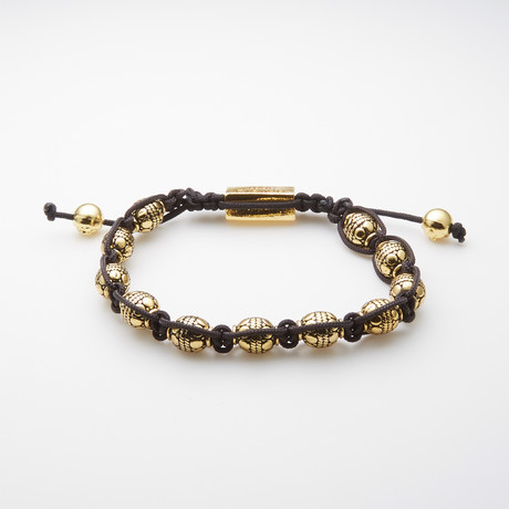 Jean Claude Jewelry // Macrame Gold Plated Charm Bracelet // Black + Gold