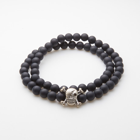 Jean Claude Jewelry // Double Wrap Onyx Pirate Skull Bracelet