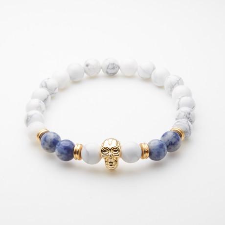 Jean Claude Jewelry // Howlite + Agate Skull Bracelet // Blue + White