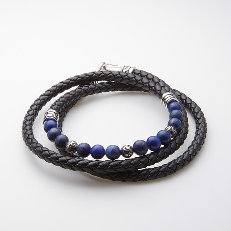 Dell Arte // Lapis + Leather Wrap Bracelet // Black