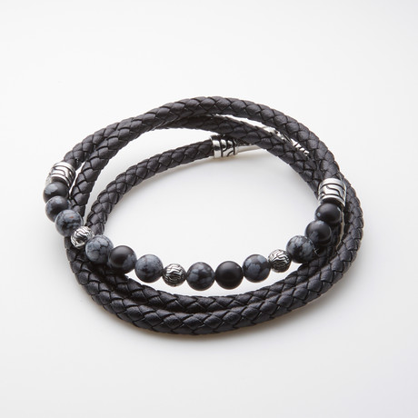 Dell Arte // Black Wrap Leather Bracelet // Snow Flake Agate Beads