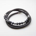 Dell Arte // Black Wrap Leather Bracelet // Snow Flake Agate Beads