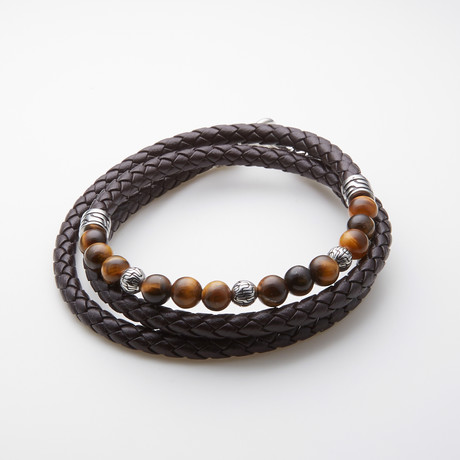 Dell Arte // Dark Brown Wrap Leather Bracelet // Tiger's Eye