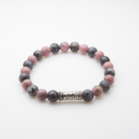 Jean Claude Jewelry // Cat's Eye Agate Bracelet With Mauve Rhodonite Stone And Metallic Inserts