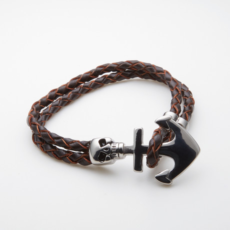 Jean Claude Jewelry // Leather + Silver Plated Skull Anchor Bracelet // Brown