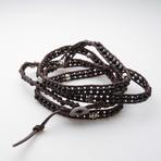 Jean Claude Jewelry // Multi-Wrap Agate Bracelet + Silver Skull // Black