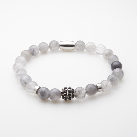Jean Claude Jewelry // Grey Turquoise + Stainless Steel Rhinestone Insert Beaded Bracelet