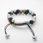 Jean Claude Jewelry // Amazonite + Matte Onyx Adjustable Beaded Bracelet // Multicolor