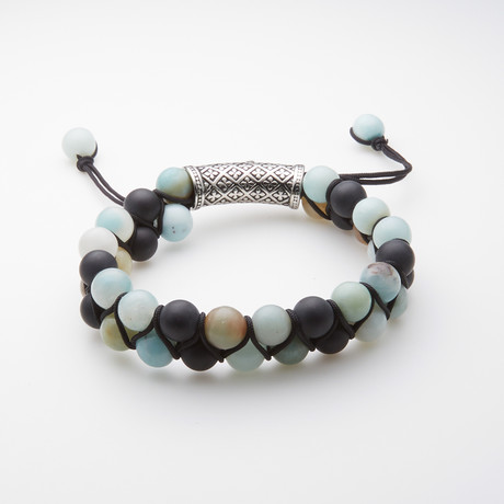 Jean Claude Jewelry // Amazonite + Matte Onyx Adjustable Beaded Bracelet // Multicolor