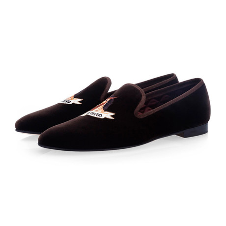 Cabinet De Curiosites 'Le Cheval' Velour Slippers // Cocoa (Euro: 39)