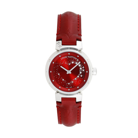 Louis Vuitton Ladies Tambour Attraction Red Wine Quartz // Q12M2 // Pre-Owned
