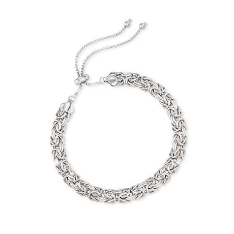 Byzantine Pull-Clasp Bracelet // 14K White Gold Plating