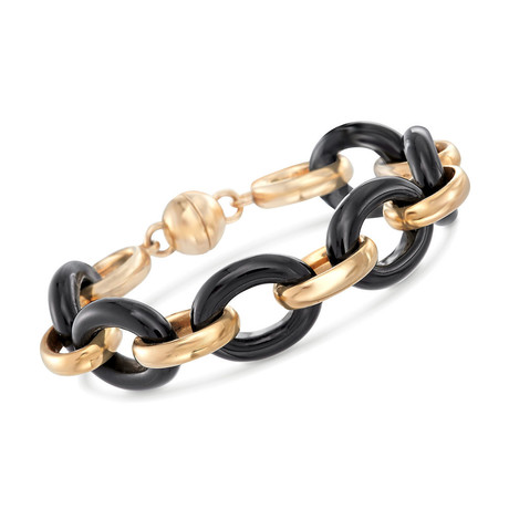 Onyx Double Link Bracelet // 14K Gold Plated