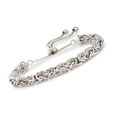 Byzantine Pull Clasp Closure Bracelet // 14K White Gold Plated