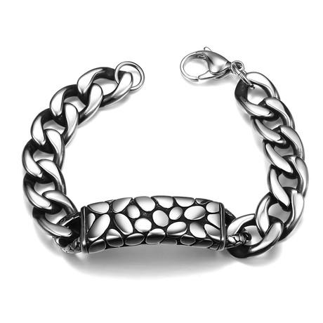 Stainless Steel Leopard Skin ID Bracelet