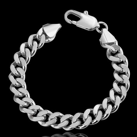 Classic Curb Chain Bracelet // 14K White Gold Plated