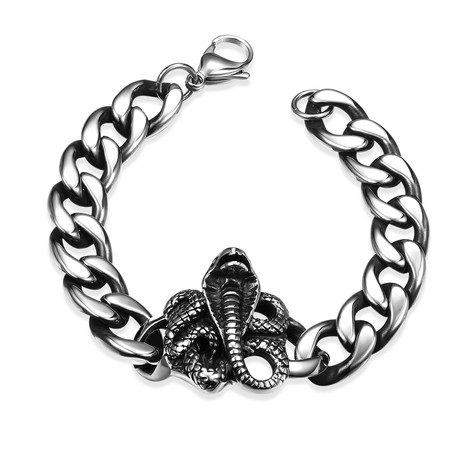 Stainless Steel King Cobra Curb Bracelet