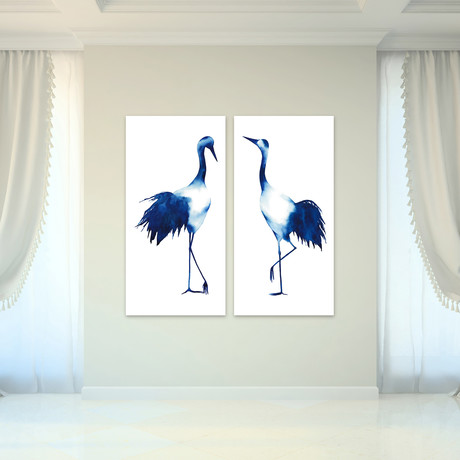 Ink Drop Crane // Reverse Printed Tempered Art Glass (Ink Drop Crane 1)