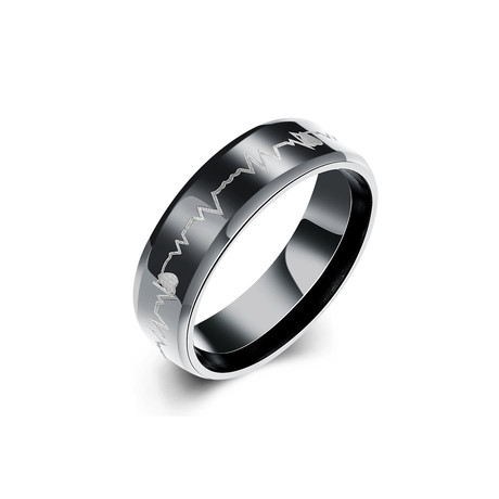 Stainless Steel Heart Pulse Band Ring (7)