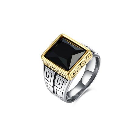 Stainless Steel Black Sapphire Emerald Cut Roman Ingrain Class Statement Ring (7)