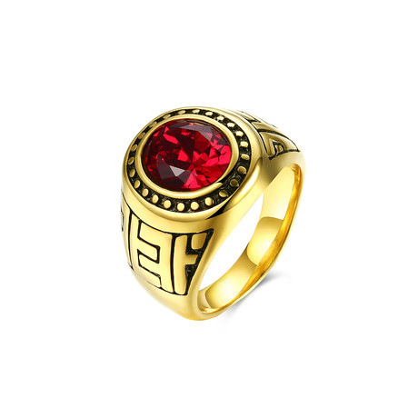 Stainless Steel Halo Ruby Sphere Class Ingrain Statement Ring (7)