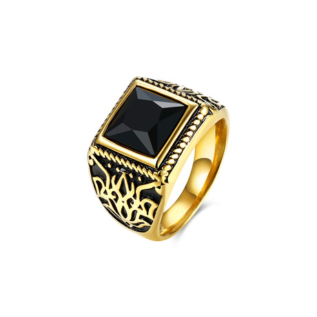 Stainless Steel Orchid Ingrain Black Sapphire Emerald Cut Class Ring (7)