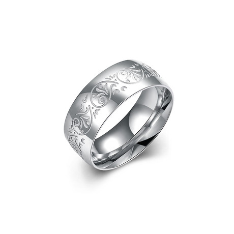 Stainless Steel Floral Ingrain Band Ring (7)