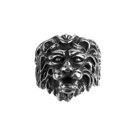 Stainless Steel Ancient Lion Head Statement Ring (Size 8)