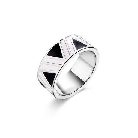 Stainless Steel Enamel Aztec Inlay Design Ring (7)