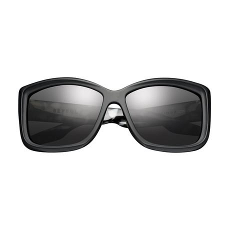 Women's Beverley Sunglasses // Matte Black + Marble Stone + Gray Lens