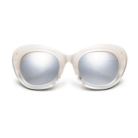 Women's Faye Sunglasses // Polished Ivory Fade + Light Blue Chrome Flash Lens