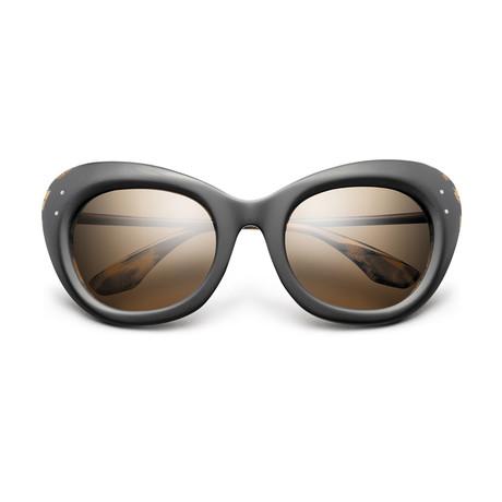 Women's Faye Sunglasses // Matte Black + Polished Leopard + Bronze Gradient Lens