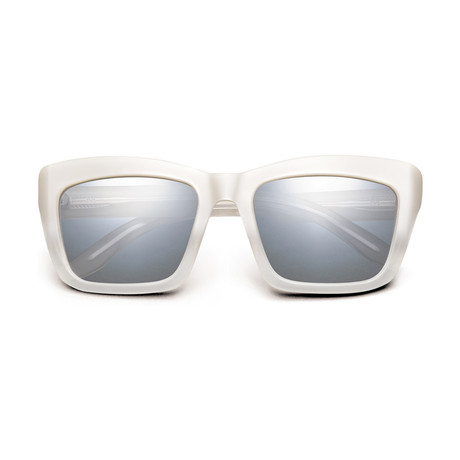 Women's Bonnie Sunglasses // Polished Ivory Fade + Light Blue Chrome Flash Lens