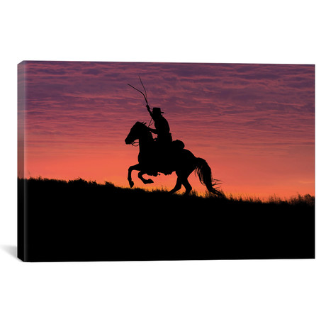 "USA, Wyoming, Shell, The Hideout Ranch, Silhouette of Cowboy // Hollice Looney (18""W x 26""H x 0.75""D)"
