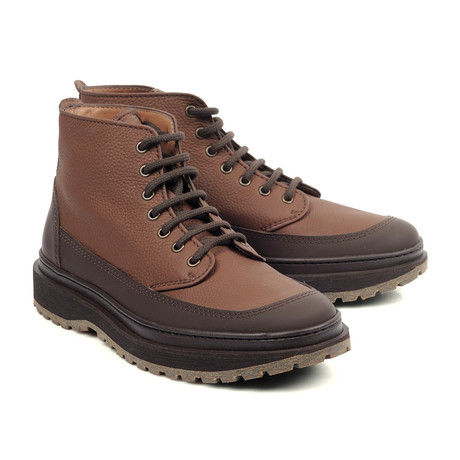 Two Tone Leather Fashion Boots // Brown (Euro: 39)