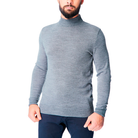 Wool Mock TurtleShirt Sweater // Gray Melange (S)