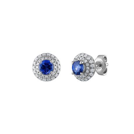 Estate 18k White Gold Diamond + Sapphire Earrings