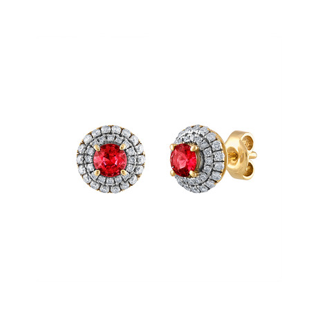 Estate 18k Yellow Gold Diamond + Ruby Earrings I