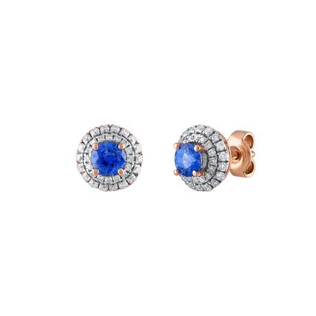 Estate 18k Rose Gold Diamond + Sapphire Earrings II