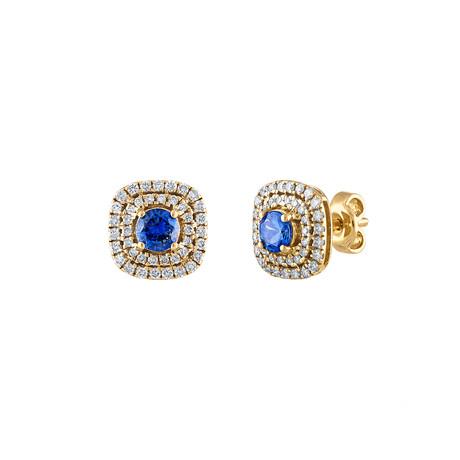 Estate 18k Yellow Gold Diamond + Sapphire Earrings