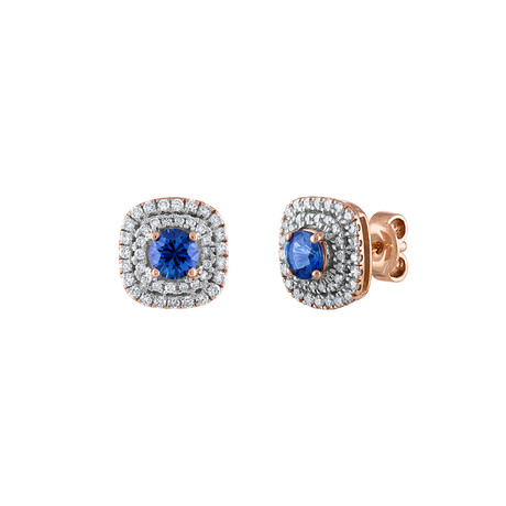 Estate 18k Rose Gold Diamond + Sapphire Earrings III